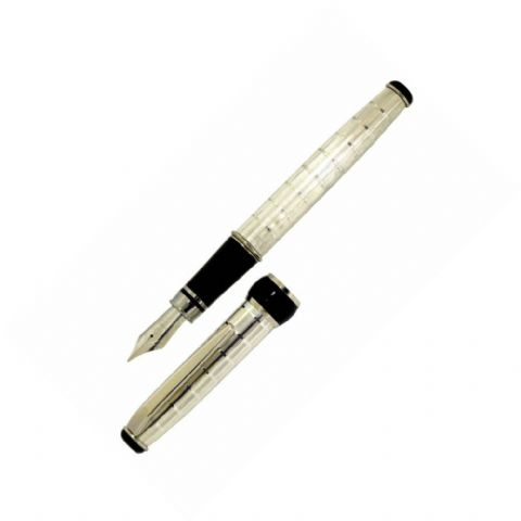 Sterling Silver Fountain Pen - Via Roma Rings Design - Hallmarked Sterling Silver
